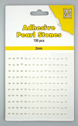 150 Adhesive pearls 2mm, 3-colors - White