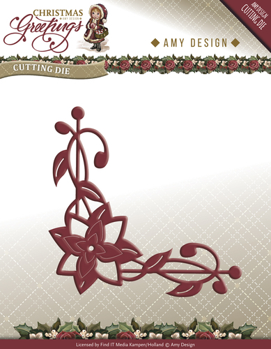 Die - Amy Design - Christmas Greetings - Poinsettia Corner