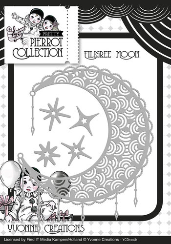 Die - Yvonne Creations - Pretty Pierrot - Filigree Moon