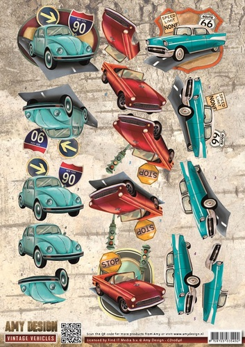 3D Knipvel - Amy Design - Vintage Vehicles - Cars