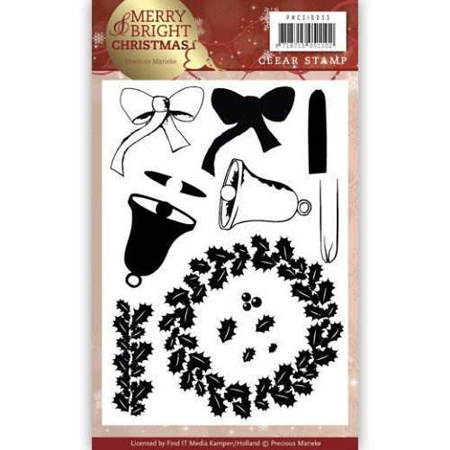 Clear Stamp - Precious Marieke - Merry and Bright Christmas - Wreath