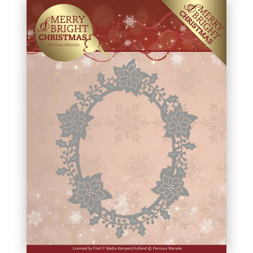 Dies - Precious Marieke - Merry and Bright Christmas - Poinsettia Oval