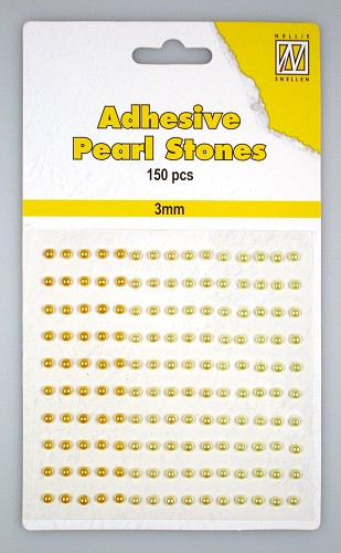 150 Adhesive pearls 3mm, 3-colors - Yellow/gold