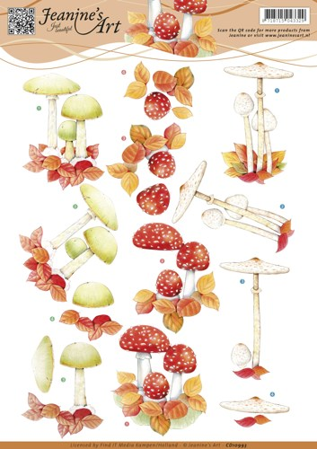 3D knipvel - Jeanine`s Art - Autumn mushrooms